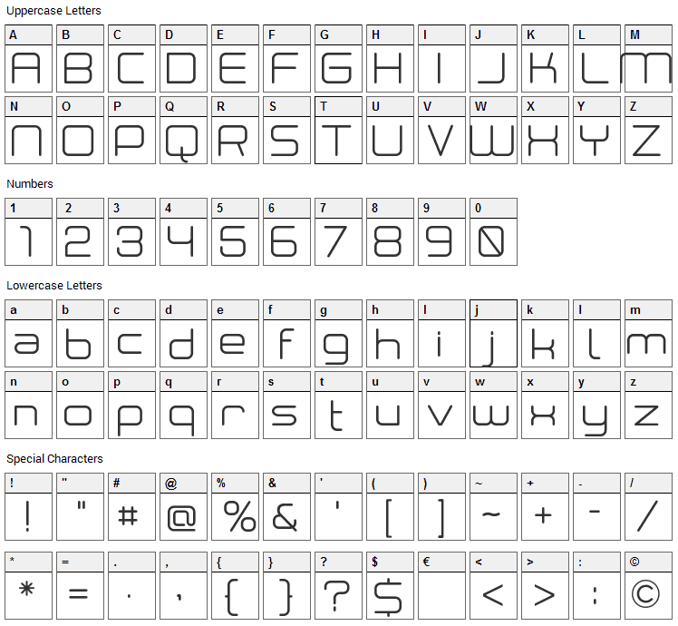 Neogrey Font Character Map