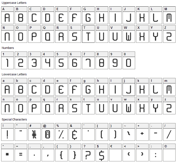 Neon Like Font Character Map