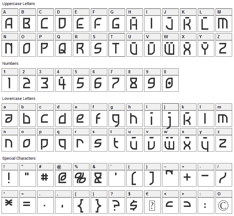Neostar Font Character Map