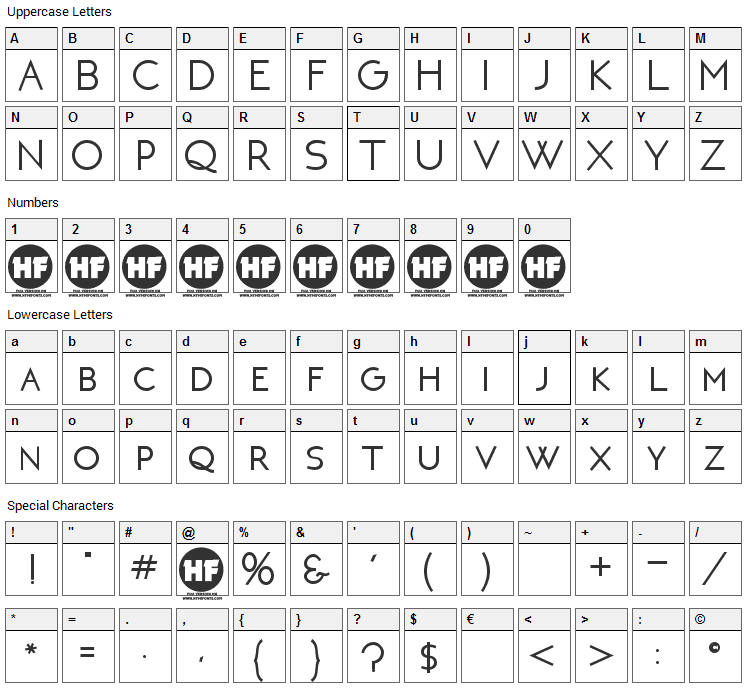 Neoteric Font Character Map
