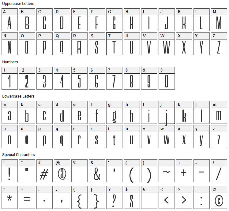 Neretta Font Character Map