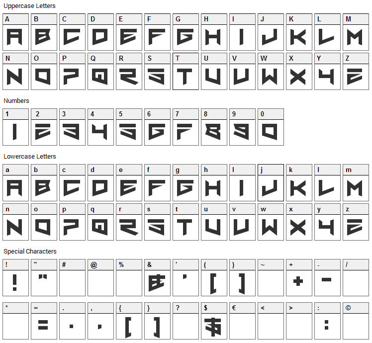 Nero Font Character Map