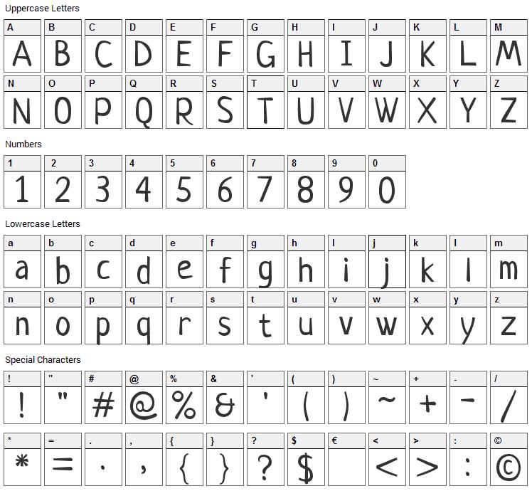 Neucha Font Character Map