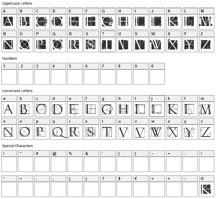 Neudoerffer Scribble Quality Font Character Map