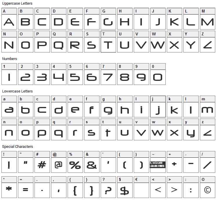 Neuropol Font Character Map