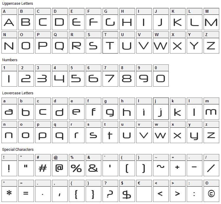 Neuropol X Font Character Map