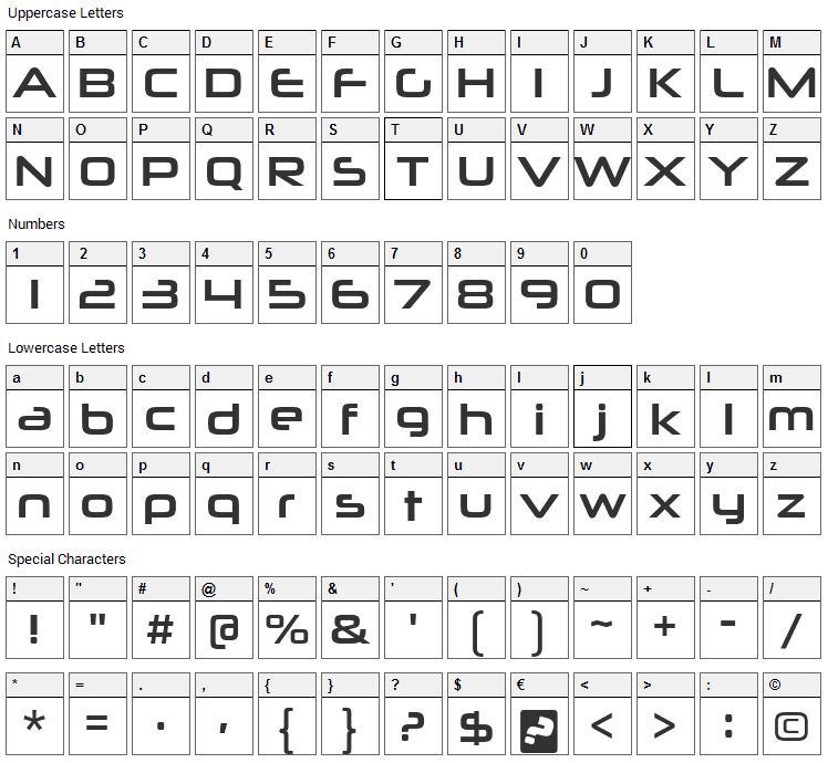 Neuropolitical Font Character Map