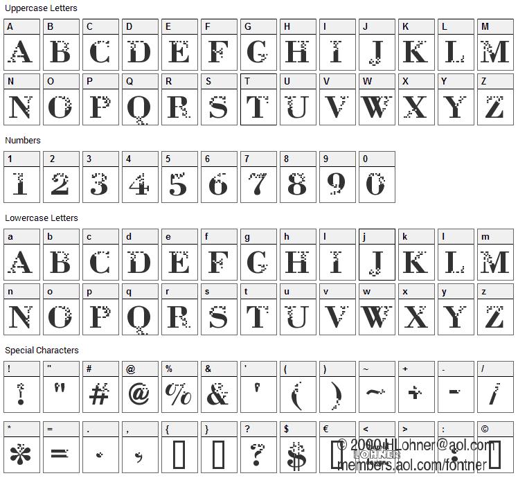 Neurotoxin Font Character Map