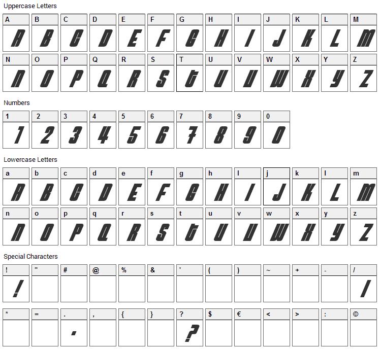 NeutronBomb Font Character Map