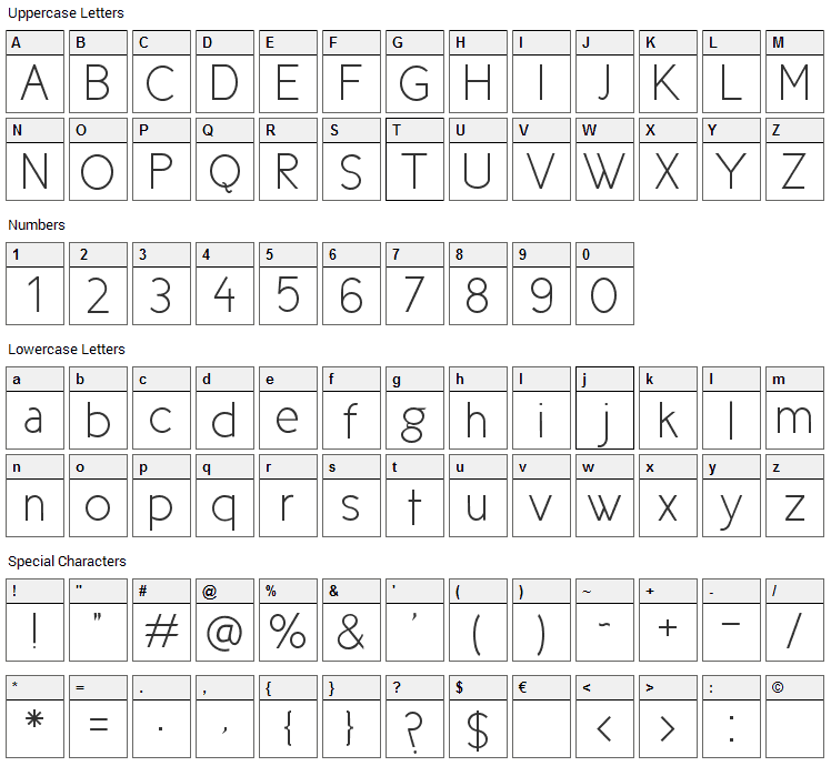 New Cicle Font Character Map