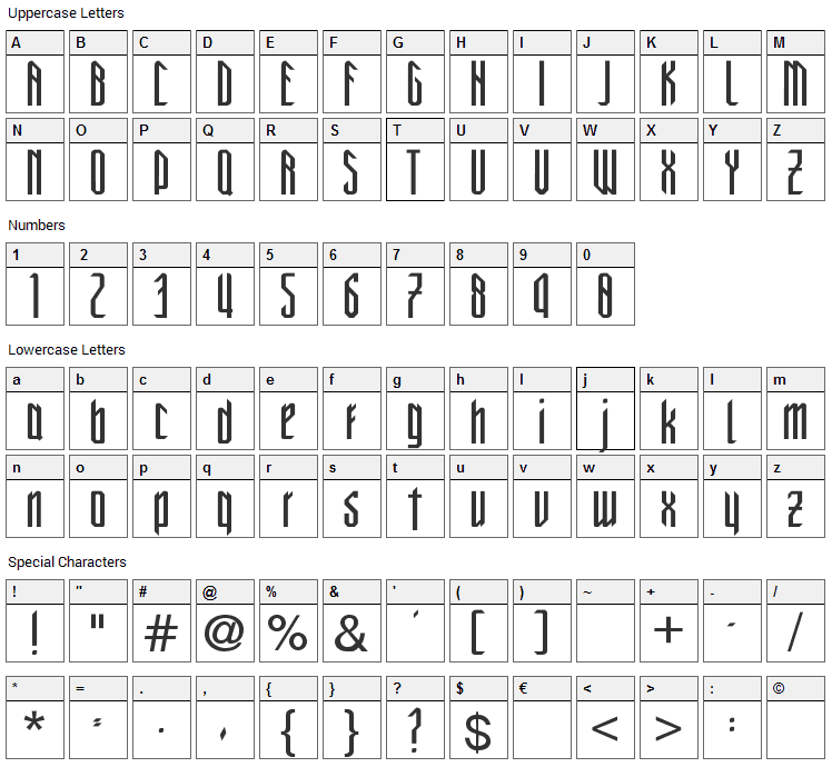 New Gothic Style Font Character Map