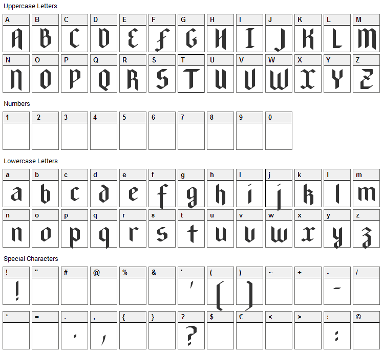 New Gothic Textura Font Character Map
