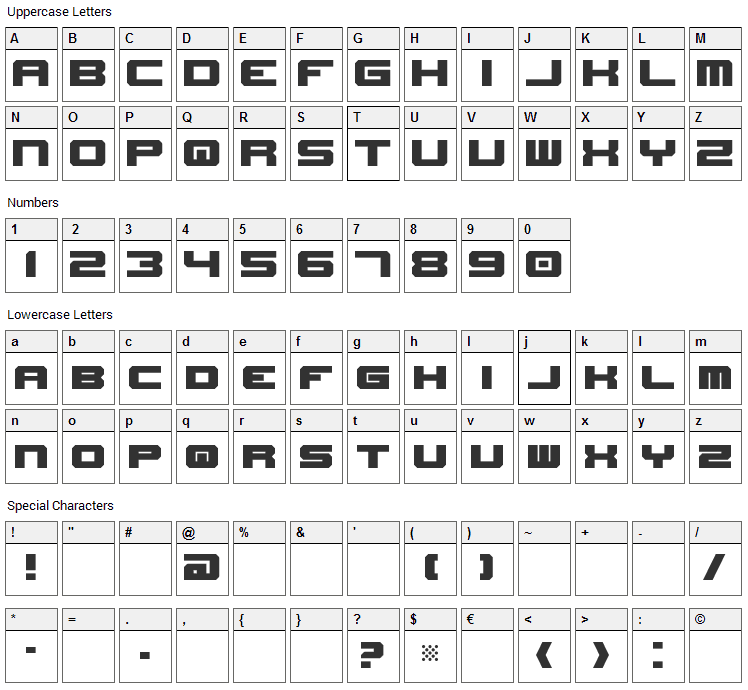 New Horizons Font Character Map