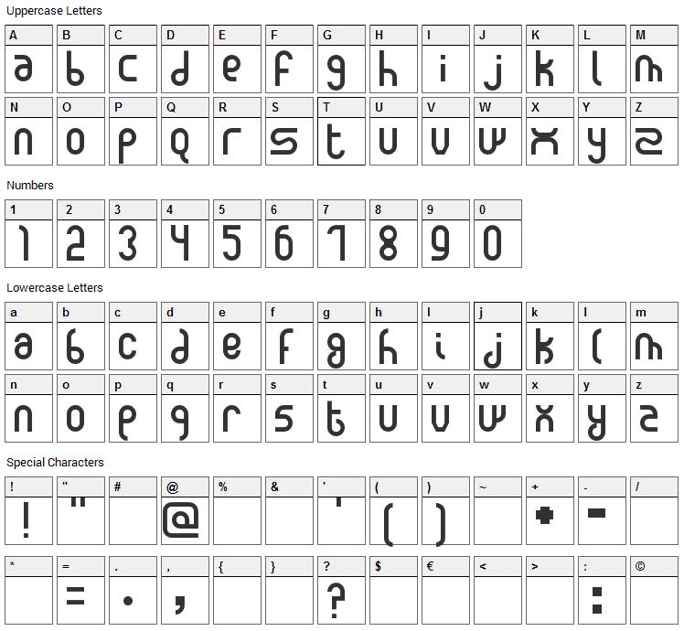 New Madura Font Character Map