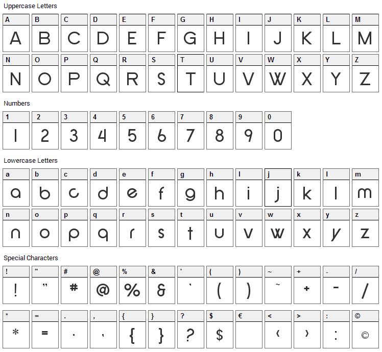 New Republic Font Character Map