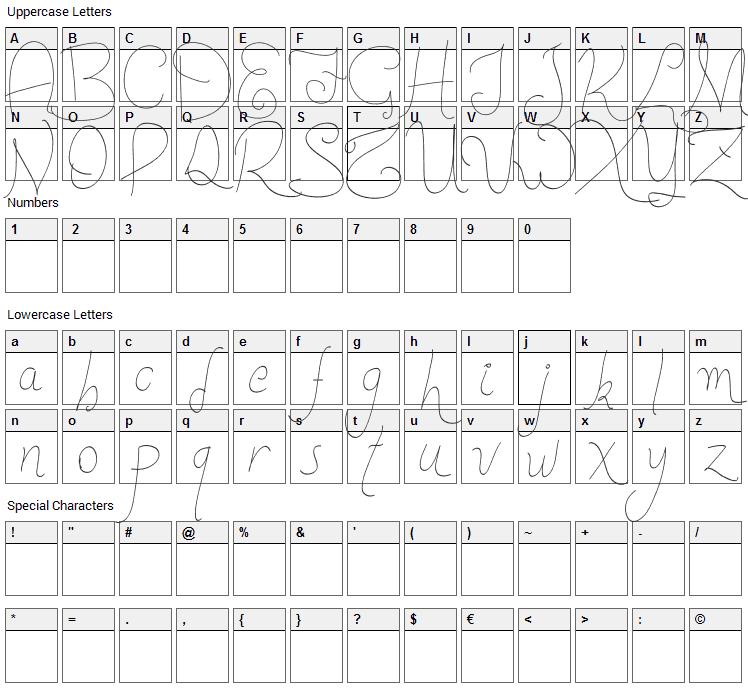 New Spirit Font Character Map