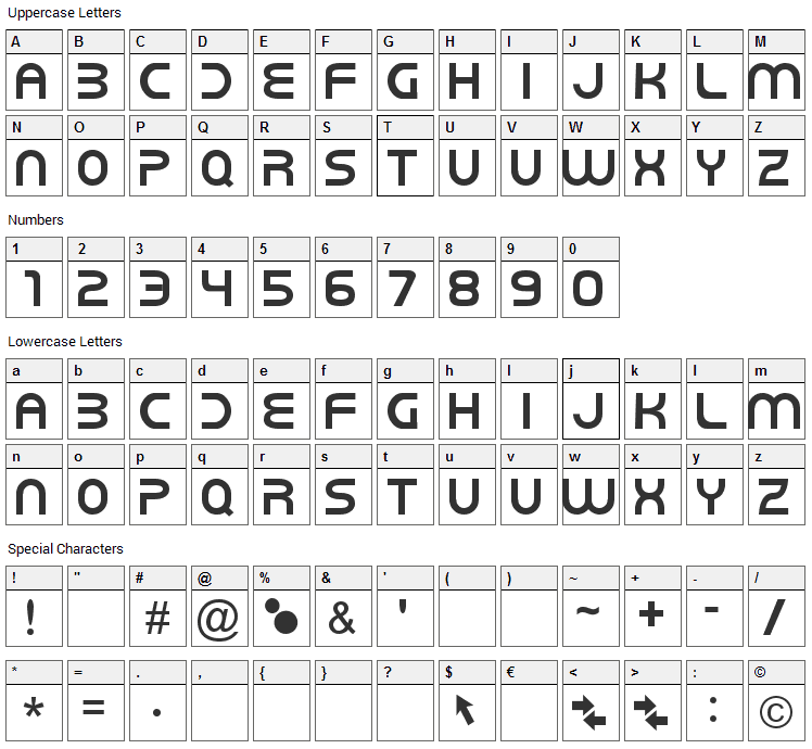New World Vibes Font Character Map
