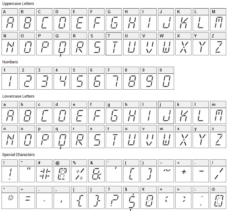 New X Digital Font Character Map