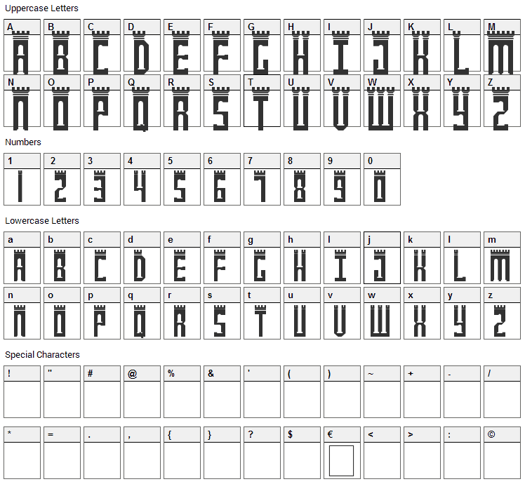 Newcastle Font Character Map