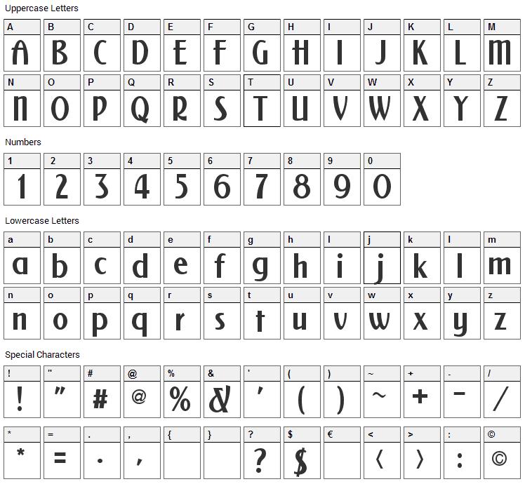 NewForum Font Character Map