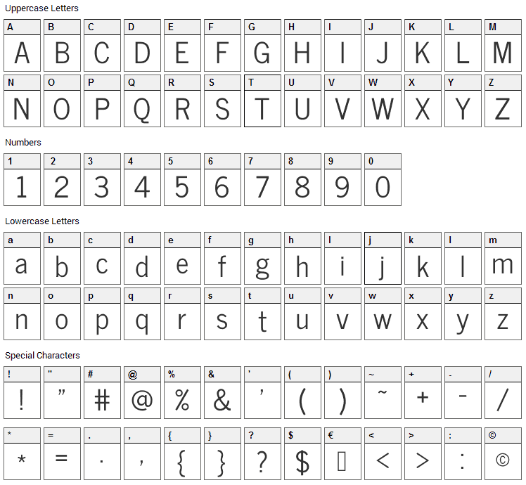 News Cycle Font Character Map