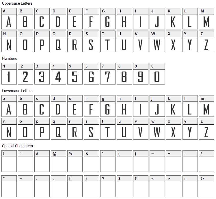 NFL Chargers 2007 Font Character Map