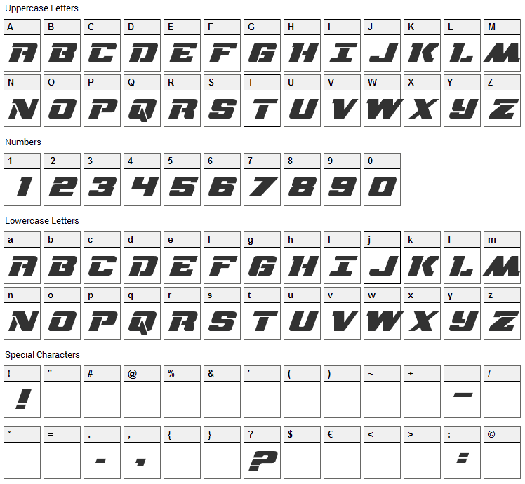 NFL RedZone Font Character Map