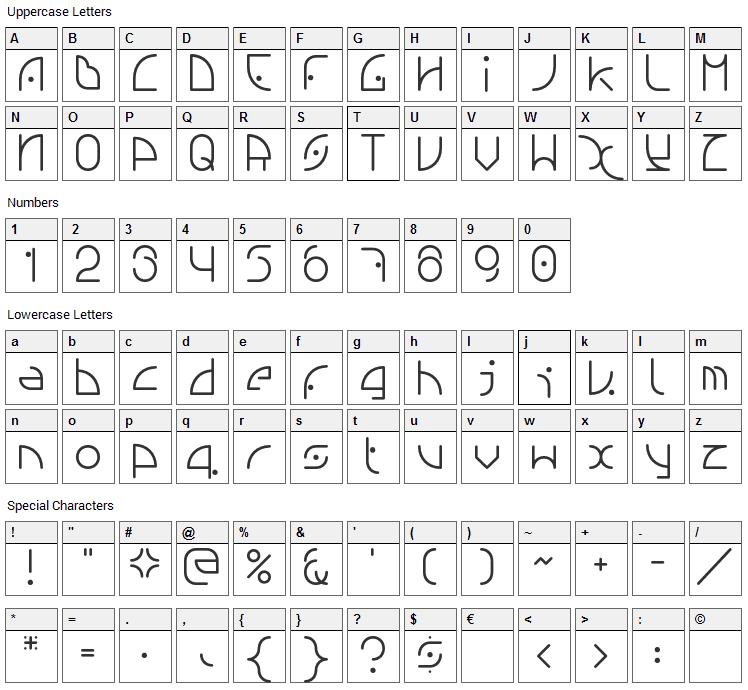 NGfont Font Character Map