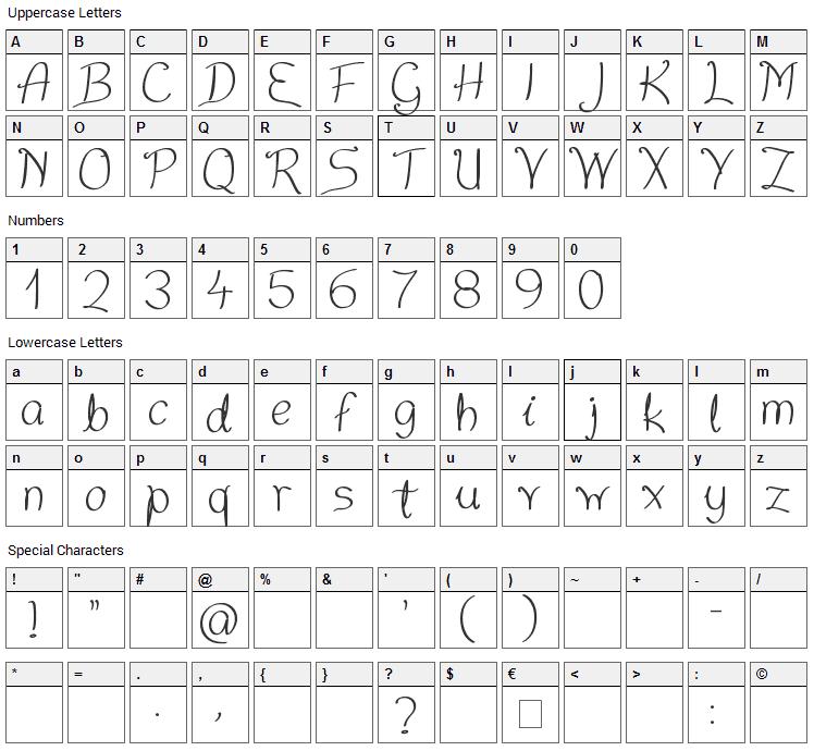 Nice Written Font Character Map