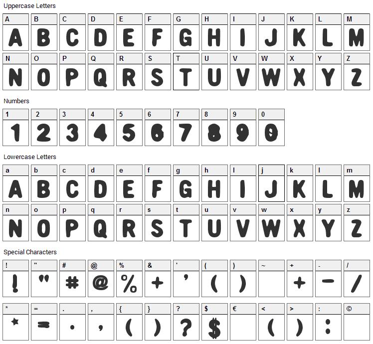 Nicotine Font Character Map