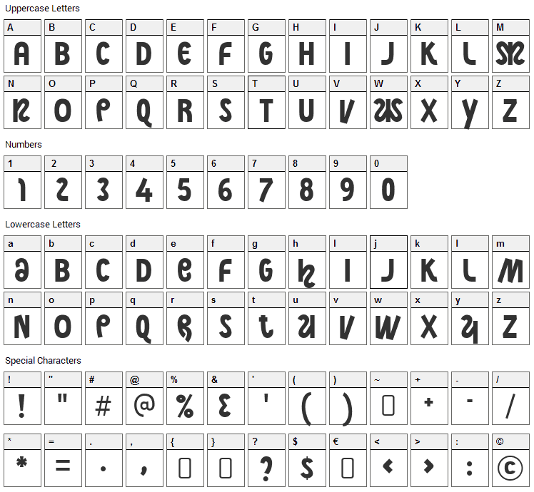 Night Court Font Character Map