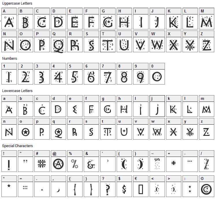 Night Sky Font Character Map