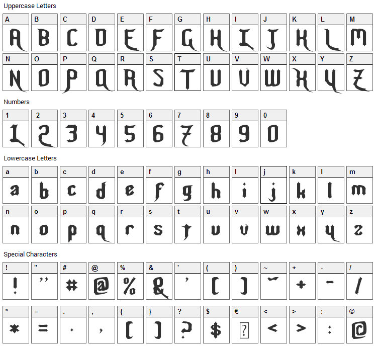 Night Warrior Font Character Map