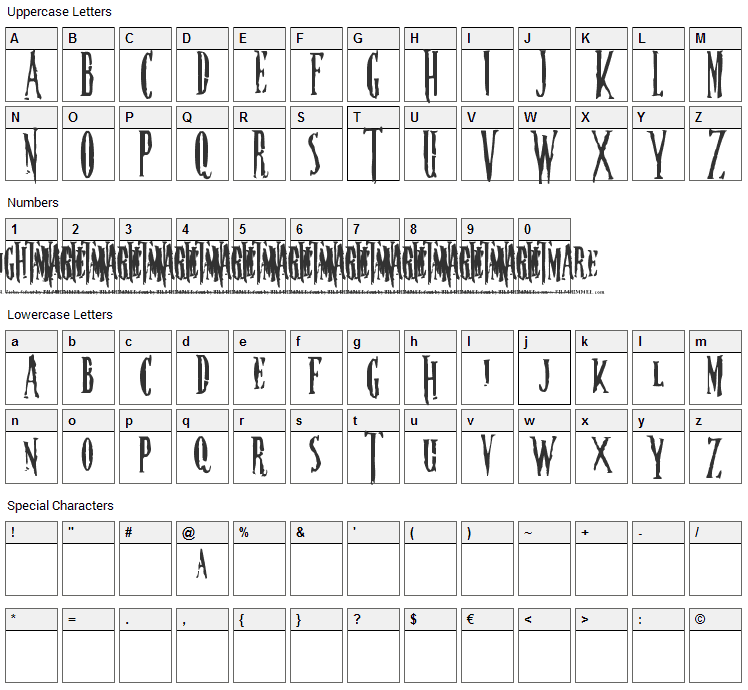 Nightmare Font Character Map