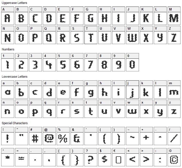 Nightporter Font Character Map