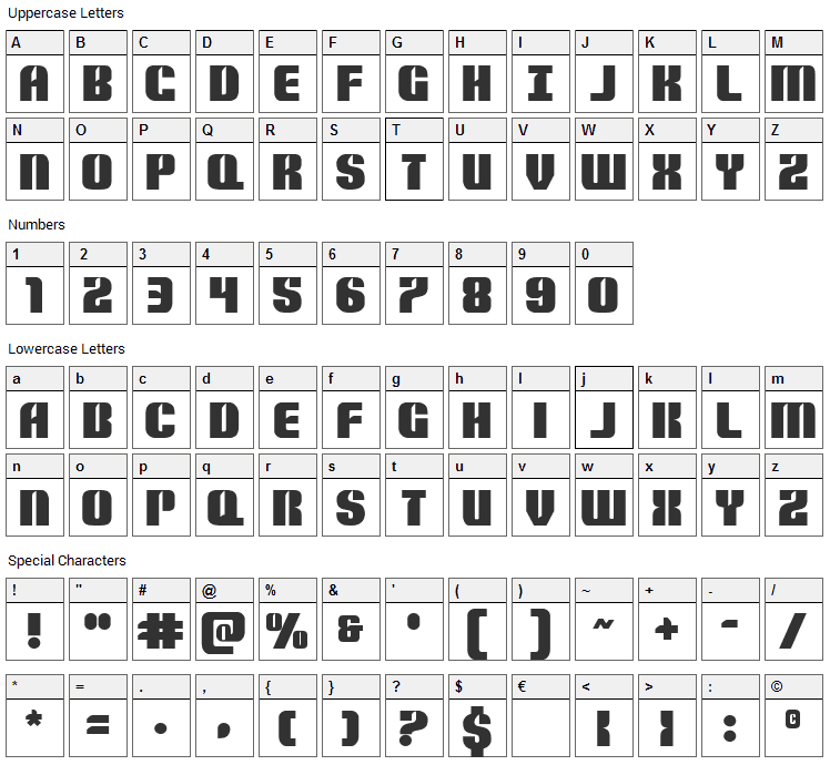 Nightwraith Font Character Map