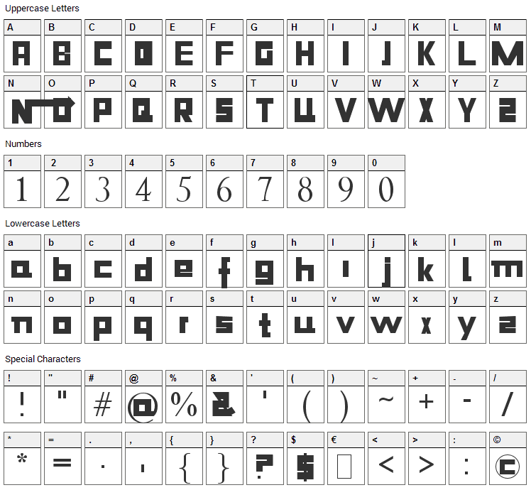 Niiiii-trous Font Character Map