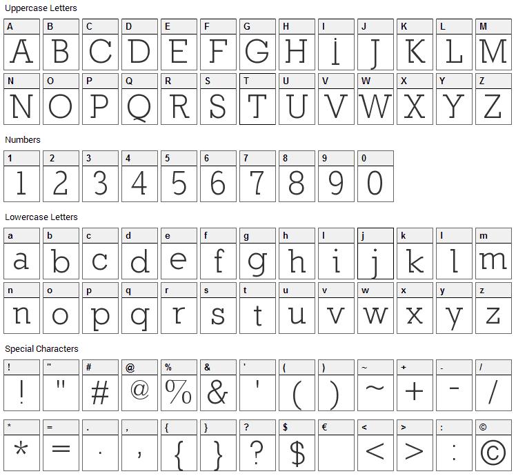 Nilland Font Character Map