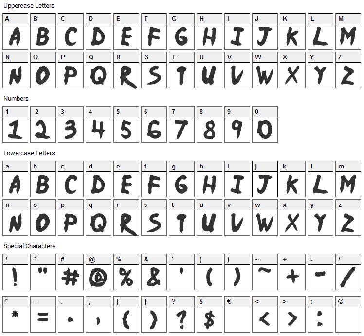 Ninja Naruto Font Character Map