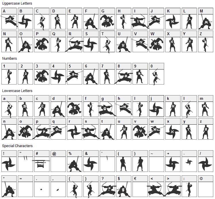 Ninjas Font Character Map
