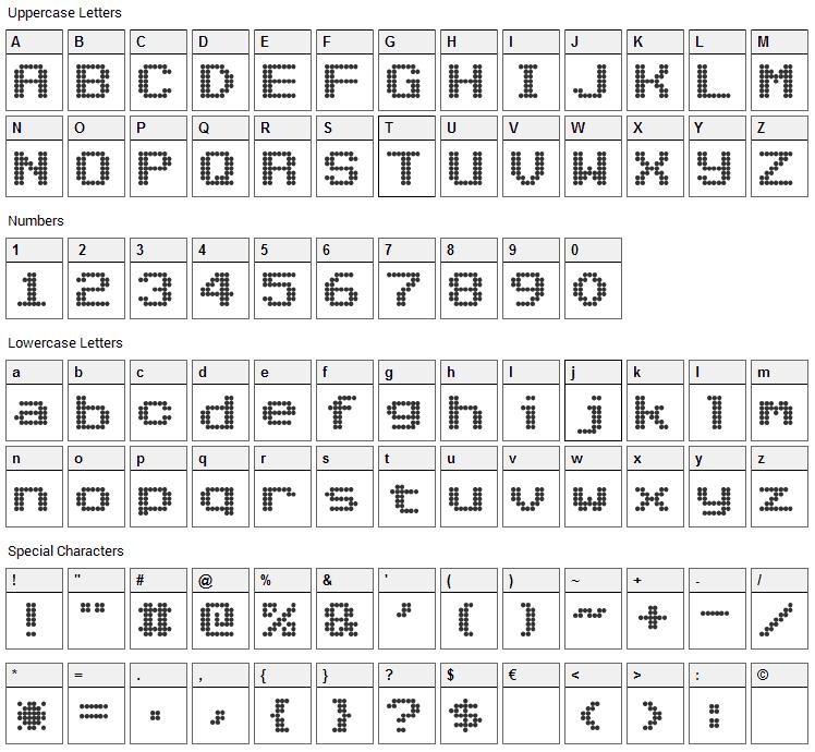 Nioc Tresni Font Character Map