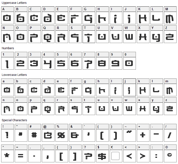 Nippon Tech Font Character Map