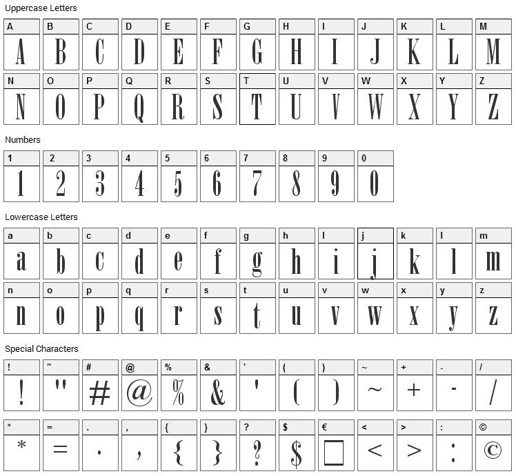 Nirvana Font Character Map