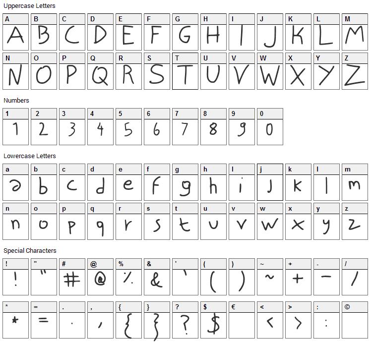 Niscript Font Character Map