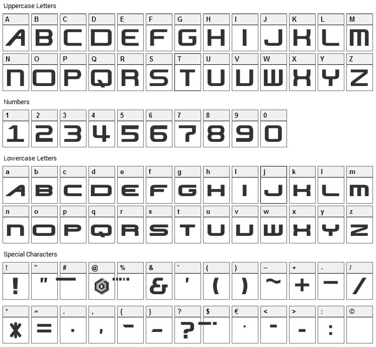 Nise JSRF Font Character Map