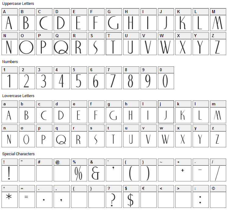 Nite Club Font Character Map
