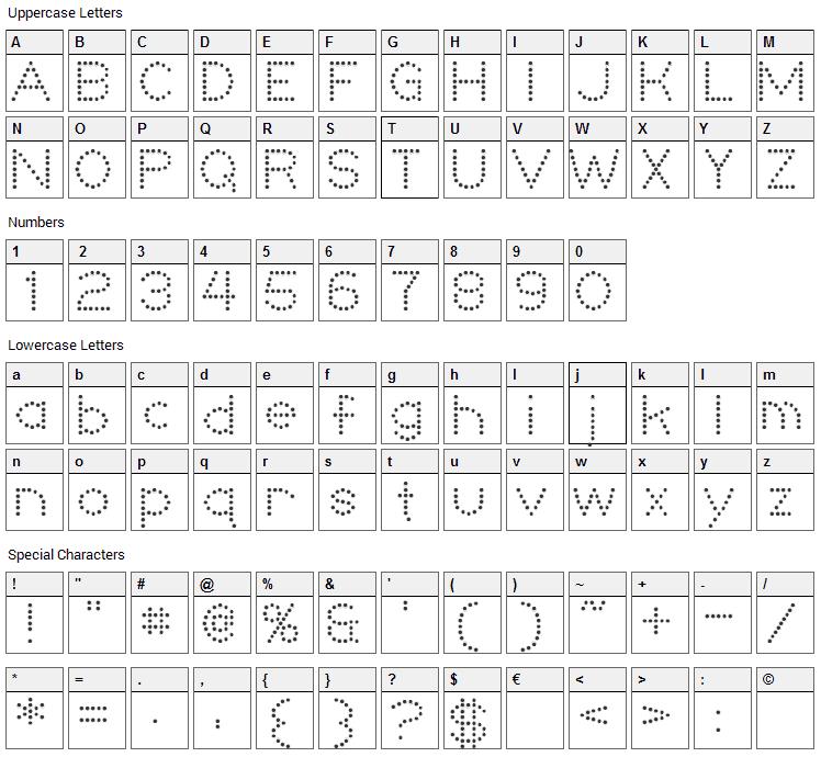 Niteclub Font Character Map