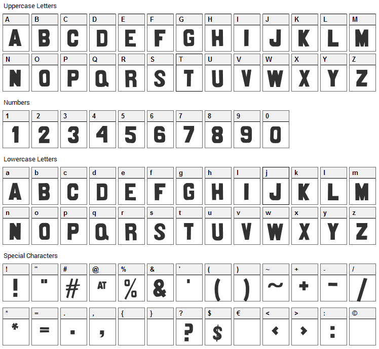 Nittenaattifire Font Character Map