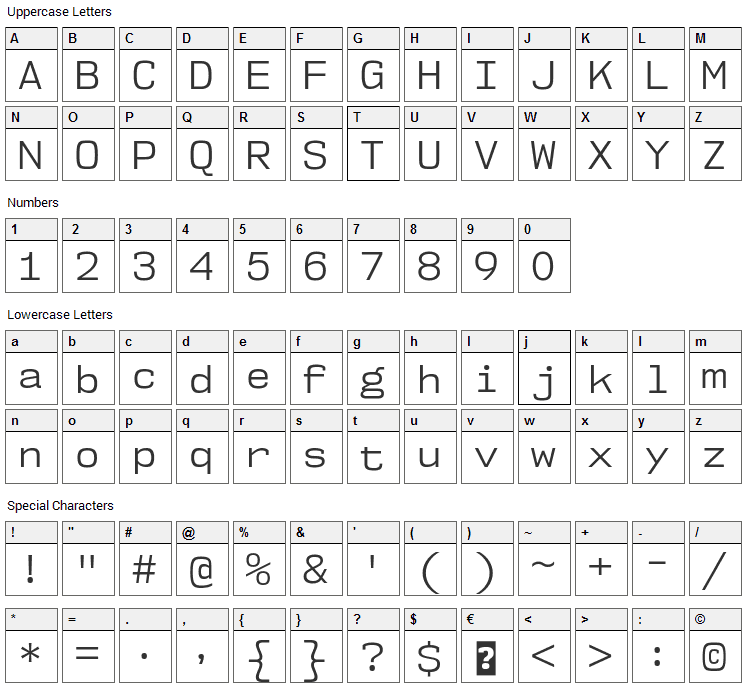 NK57 Monospace Font Character Map