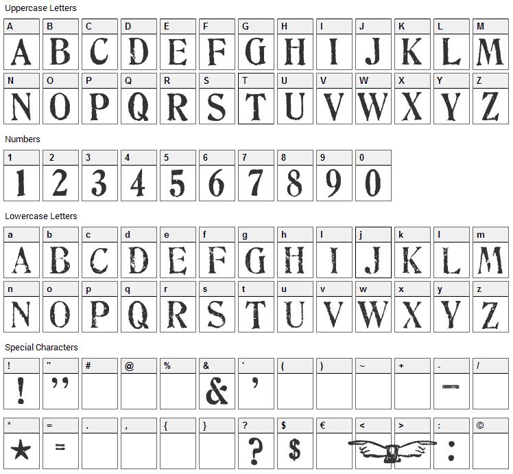 No 130 Fulton Street Font Character Map